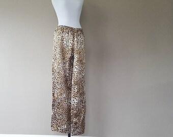S/M / Sleep Pants / Pajama Bottoms / Animal Print / Leopard / Satin / Small/Medium
