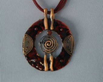 """Necklace / Pendant Boho Witchy Metal  2 1/4"""" Round"""