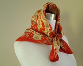 Scarf 22 Inches by 23 Inches Liberty of London Made in England Yellow White Black Gold and Red Paisley Vintage Accessory
