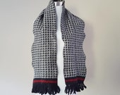 Scarf Anne Klein II 9 Inches by 53 Inches Wool Acrylic Blend Black White Houndstooth Red Stripe Tassel Ends Vintage Accessory