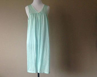 21cba9604e5a Nightgown Medium Lingerie Gown Vintage Turquoise Blue Green