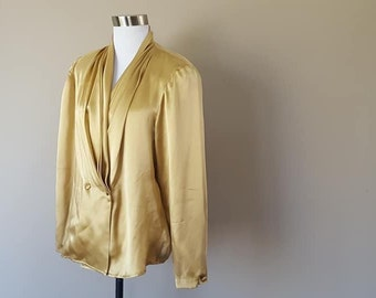 c7cfec8242cbc5 SILK Satin Blouse Talbots Size 6 Gold Long Sleeved V-Neck Double Breasted  Button Closures Shoulder Pads Vintage Clothing