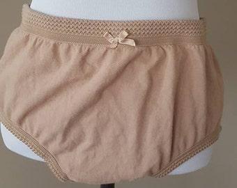ab158b2bc Panties 2X Delta Burke Panty Beige Nude Cotton Elasticized Waist Plus Size  XXL Vintage Lingerie