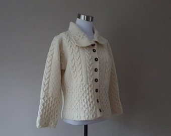 698310d4b54 Sweater XS Blarney Woolen Mills Ireland Cream Off White Extra Small Buttons  Round Collar Cabled