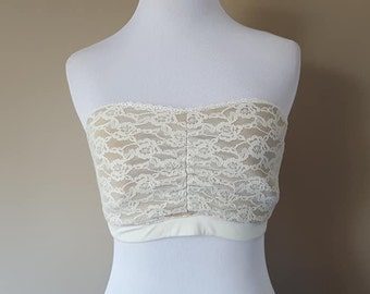 6af6667202716 Bra Size 36 Maidenform Lacy and Sexy Strapless Stretchy Cream Medium Vintage