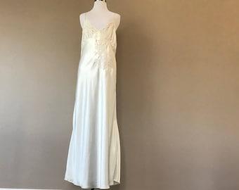 Nightgown Large Lingerie Cacique Long White Satin Gown Vintage Lingerie 613073049