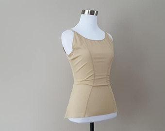 2f7cac995ea28 Cami Shaper Large Shapewear Top Nude Nylon Stretch Hooks   Eyes No Tags  Vintage Lingerie