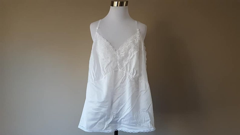 Camisole Velrose Size 54 4X 5X  White Cami Nylon Lace  XXXXL Plus Size XXXXXL Vintage Lingerie