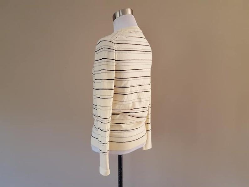 WOOL Sweater Medium Banana Republic Off White Striped Silver Threading Long Sleeve Crew Neck Vintage Apparel