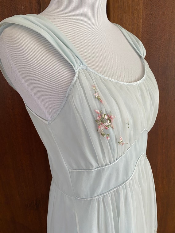 1950's Nightgown God Frie Day?  Blue Chiffon...