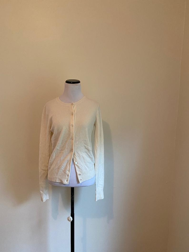 Crew Winter White ... CASHMERE  Medium Cardigan Sweater By J
