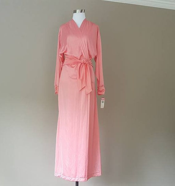 Medium M Peach Olga Robe Gown Polyester n4XO4rT--misericordiameda.com