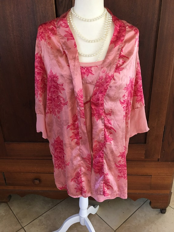 SILK Peignoir August Silk Chemise and Robe Pink Fl