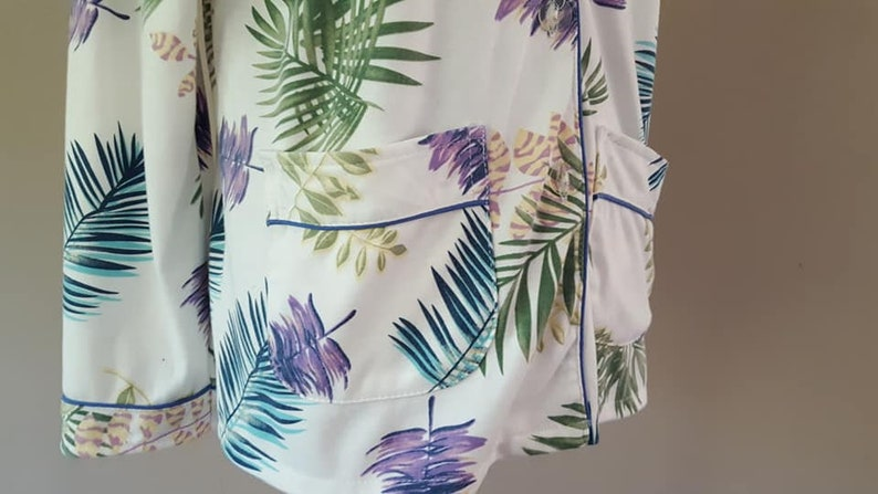 Sleep Shirt Large Yikeli Print Bed Top Long Sleeves Button Front  Vintage Underwear