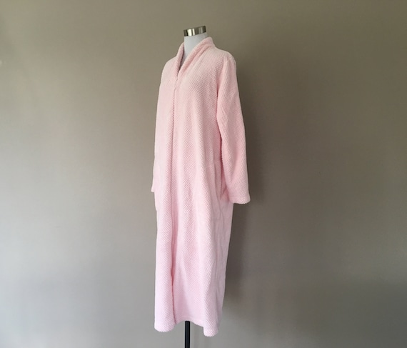 Robe Large Miss Elaine Pink Fuzzy Zipper Front Lon