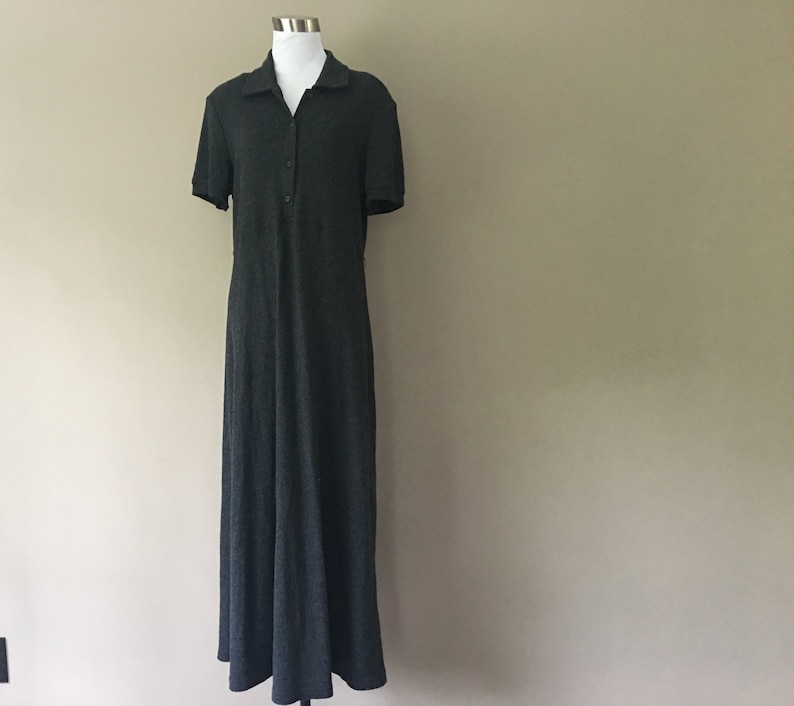 Shirt Dress Small Ronni Nicole Charcoal Gray Made In USA Button Front Acrylic Vintage Apparel ..