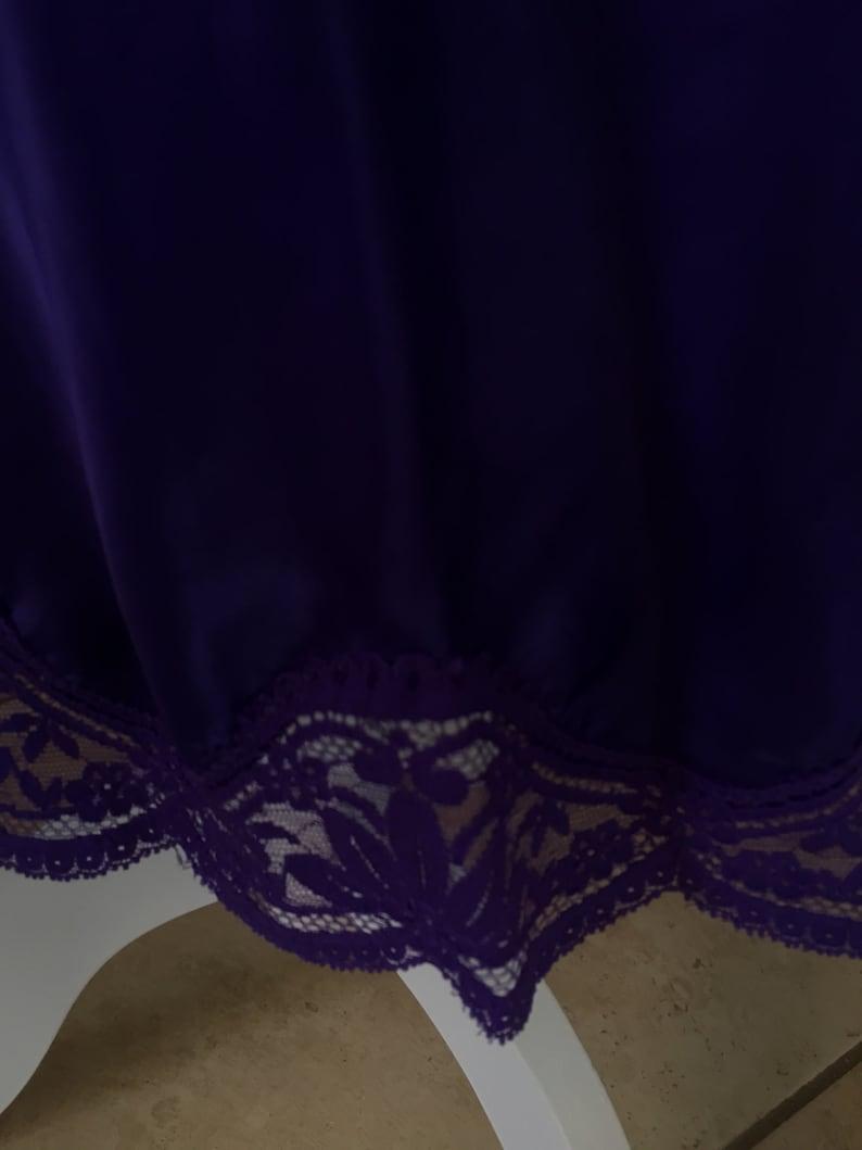 Extra Small  31  Half Slip   Long 20 Waist   Purple   Shiny Satin   Lace Extender   Made in USA