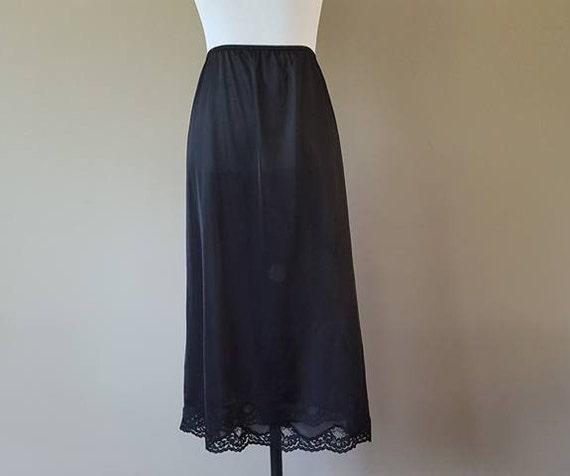 Half Slip 2X Plus Size 28 Long Black Nylon 3 Inch Extender Lace Hem  A-Line Vintage Lingerie