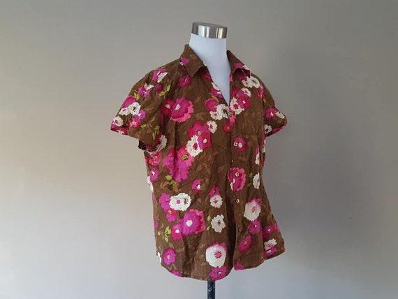 Shirt Large Pappagallo Brown Pink Floral Cotton Sh