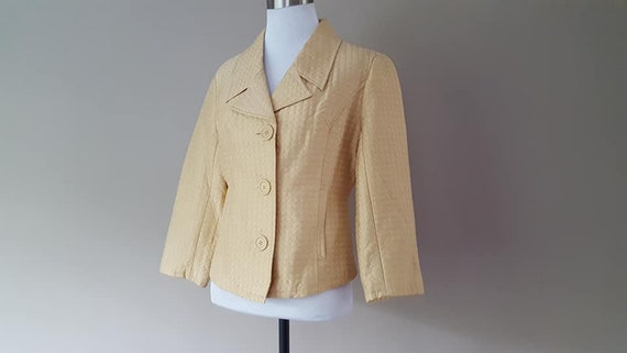 SILK Jacket Small Silkland Butter Yellow  Vintage… - image 4