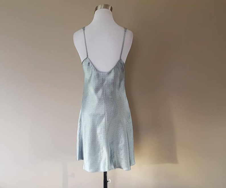 Chemise Small Morgan Taylor Intimates Gray Grey Satin Slip Dress Plunge Scoop Neckline Gown Vintage Lingerie