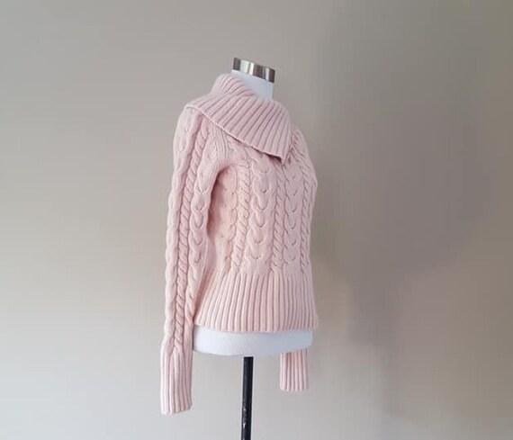WOOL Sweater Large Banana Republic Pink Cable Turt