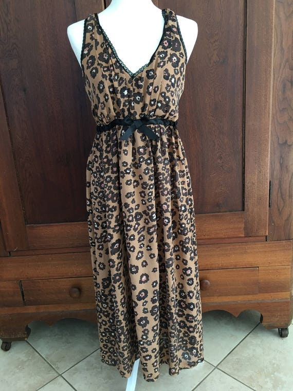 SILK Nightgown  Long Gown Leopard Print Vintage An