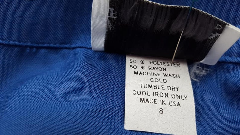 Blouse Size 8 FA Chatta Ltd Medium Long Sleeved Blue Rayon Polyester Shirt Made In USA   Vintage Apparel