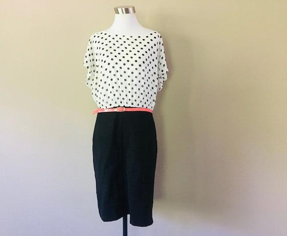 Dress Extra Large Polka Dot Black White Coral Belt   Vintage Apparel