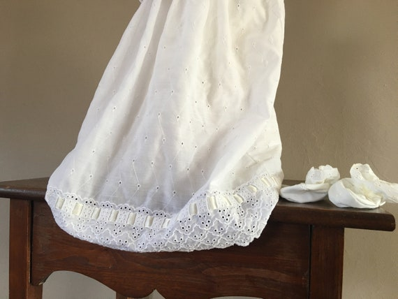Christening Dress White Cap Gown Booties and Unde… - image 4