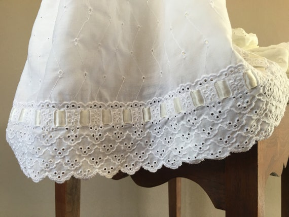 Christening Dress White Cap Gown Booties and Unde… - image 10