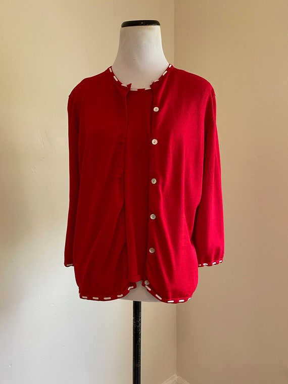 Bob Mackie Sweater Set Large Red and White