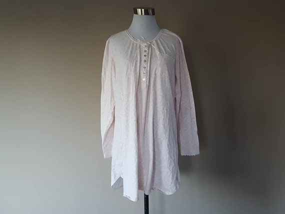 Nightgown Large Eileen West Pink Flowers Cotton Lo