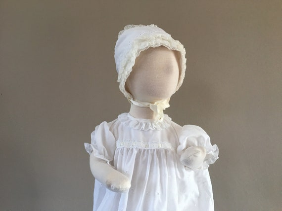 Christening Dress White Cap Gown Booties and Unde… - image 2