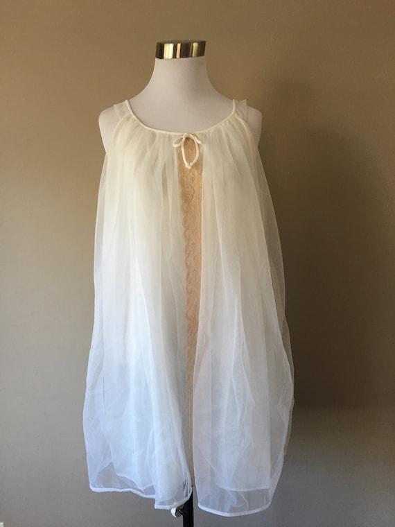 Babydoll  Small  1960's Ecru Lace White Chiffon ..