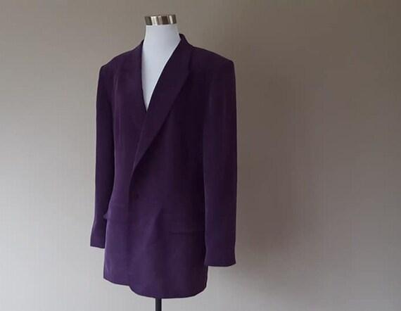 SILK Jacket Size 16 Chaus Shoulder Pads Vintage Cl