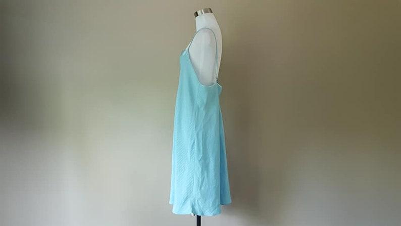 Chemise Nightgown Extra Large Cruz Gown Slip Dress Blue Satin Trim Adjustable Straps Vintage Lingerie
