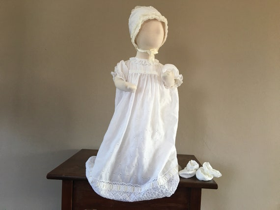 Christening Dress White Cap Gown Booties and Under