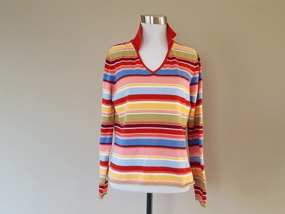 Vintage Purple and Gold Striped Fitted Long Sleeve Sweater Mock Neck Zip Back by Talbot 1980s