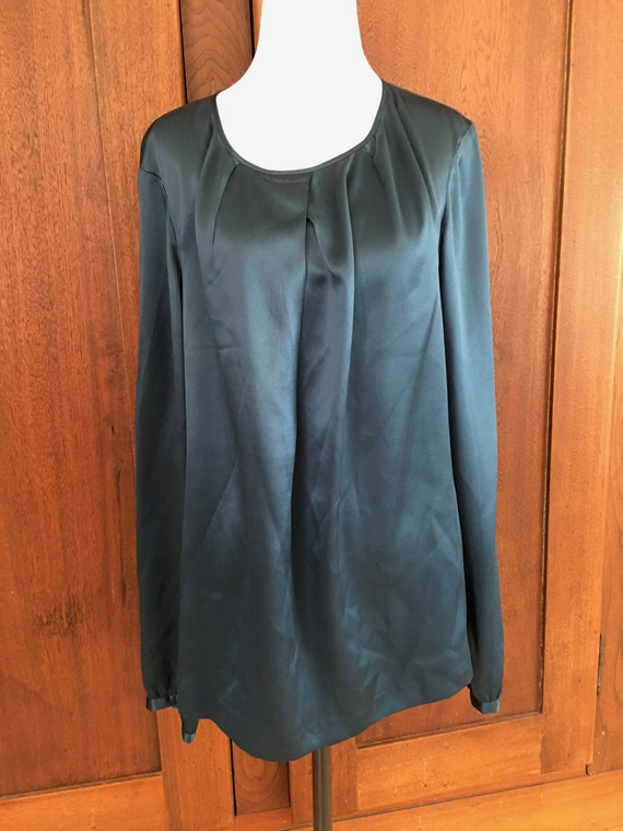 SILK XL Blouse long sleeve teal
