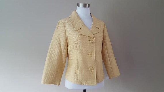 SILK Jacket Small Silkland Butter Yellow  Vintage… - image 1