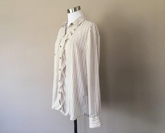 Blouse Large Ann Taylor LOFT Striped White Black R