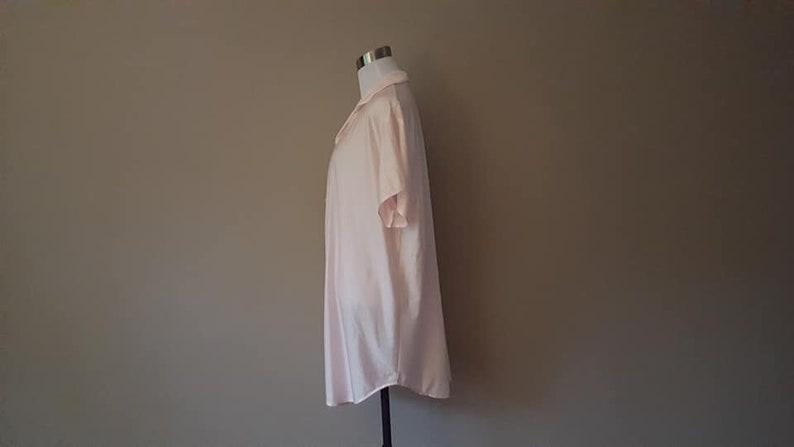 Sleep Shirt Medium Private Moments Bed Top Night Shirt  Pink Nylon Vintage Lingerie