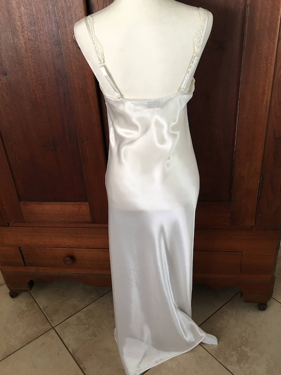 Victoria's Icy LABEL Vintage Nightgown Long M Medium Secret White GOLD Satin Bxwdqng6