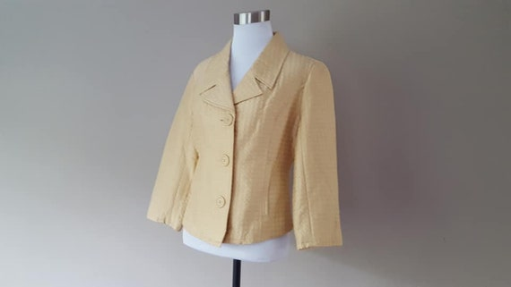 SILK Jacket Small Silkland Butter Yellow  Vintage… - image 5