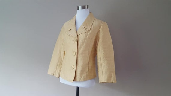 SILK Jacket Small Silkland Butter Yellow  Vintage… - image 3