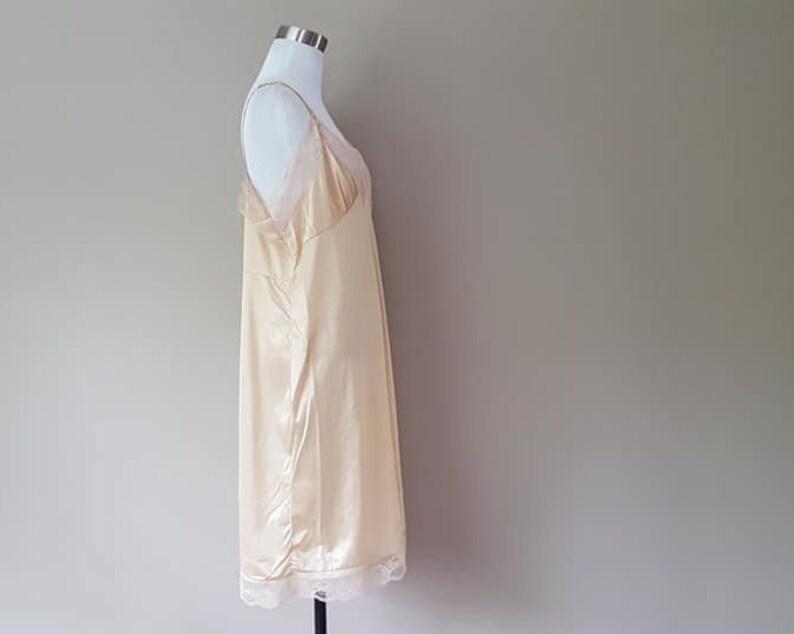 Full Slip Size 44 Bari Plus Size 2X Nude Nylon XXL Lacy Trim Extender Hem Lacy Bust Vintage Lingerie