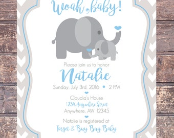 Baby Boy Shower Invitation-Cute Baby Elephant/Blue & Gray Chevron/Digital File/Printable
