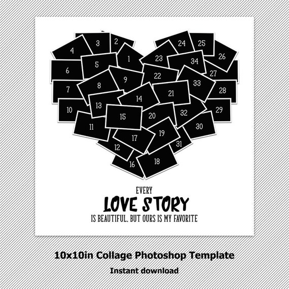 Heart Collage Photoshop Template Storyboard Psd Etsy