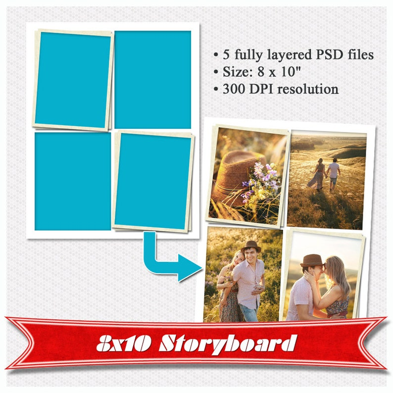 Storyboard storyboard template for photographers Digital Storyboard Set of 5 Collage Template PSD 8x10 Photo Collage Template